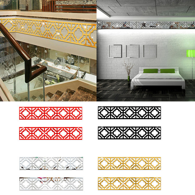 10pcs/set Lace 3D Acrylic Mirror Wall Stickers Suspended for Ceiling Decorate Sticker DIY Home Background Wall Decoration 75Z