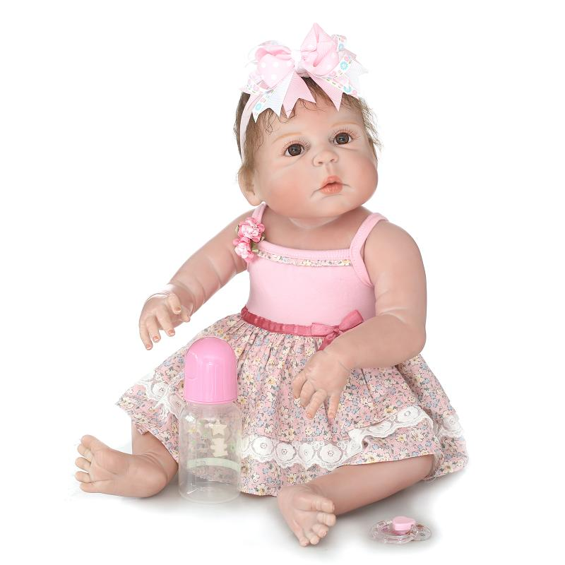 Nicery 22inch 55cm Magnetic Mouth Reborn Baby Doll Hard Silicone Lifelike Toy Gift for Children Christmas Pink Dress Lovely Girl nicery 18inch 45cm reborn baby doll magnetic mouth soft silicone lifelike girl toy gift for children christmas pink hat close