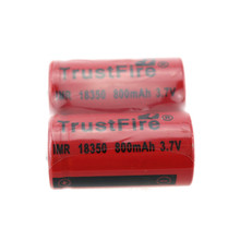 2pcs/lot TrustFire IMR 18350 3.7V Rechargeable Battery 800mAh Lithium Batteries Power Source For Consumer Electronics