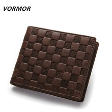 VORMOR Brand Man Wallet 100% genuine leather men's wallets with coin pocket fashion quality purse wallet for men