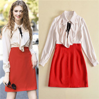 New Arrival Fashion High Quality Contact Color Turn Down Collar Shirt Dress Ruffle Long Sleeve Autumn