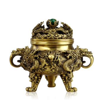 Buddhist temple decoration Open pure copper incense burner antique Kowloon incense burner ornaments incense Tao materials suppli