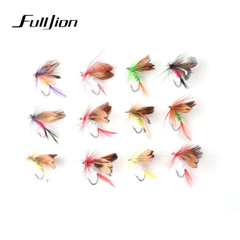 Fulljion Fishing Lures Hard Baits Fishing Tackle Various Dry Fly Insect Butterfly Fishing Trout Salmon Dry Flies Pease 12pcs 12pcs 14 red tail bead head buzzer nymph fly for trout fishing lures