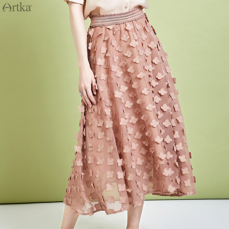 ARTKA 2019 Summer Women Skirt Elegant Mesh Skirt High Waist Long Chiffon Skirt Floral Decorative Stretch Waist Skirt QA10790X
