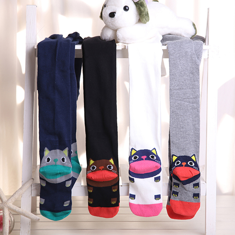 все цены на Baby Girl spring Autumn cat pattern Tights Children Pantyhose Stocking Girls Knee High Kids Cotton Stocking Girl Tights