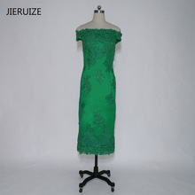 JIERUIZE Green Lace Appliques Tea Length Evening Dresses Off The Shoulder Evening Gowns Formal Dresses Mother of the Bride Dress