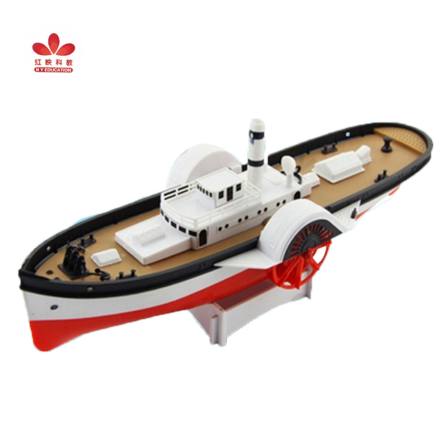 Free Shipping DIY Strong Bow Paddle Wheel Electric Powered Boat Assembled ship Model Educational Toy Children Gifts