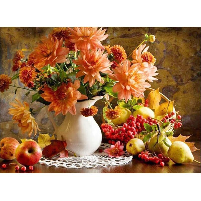 5D Diy Diamond painting flower apple flower vase round diamond Cross Stitch Hobbies and Crafts Diamond Embroidery mosaic floral