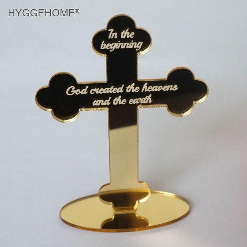 10 Stücke Spiegel Kreuz Für Tisch 12 Cm Hohe Personalisierte Gott Segnen Der Herr Gebet Für Taufe & Taufe Haus Moving Heller Glanz