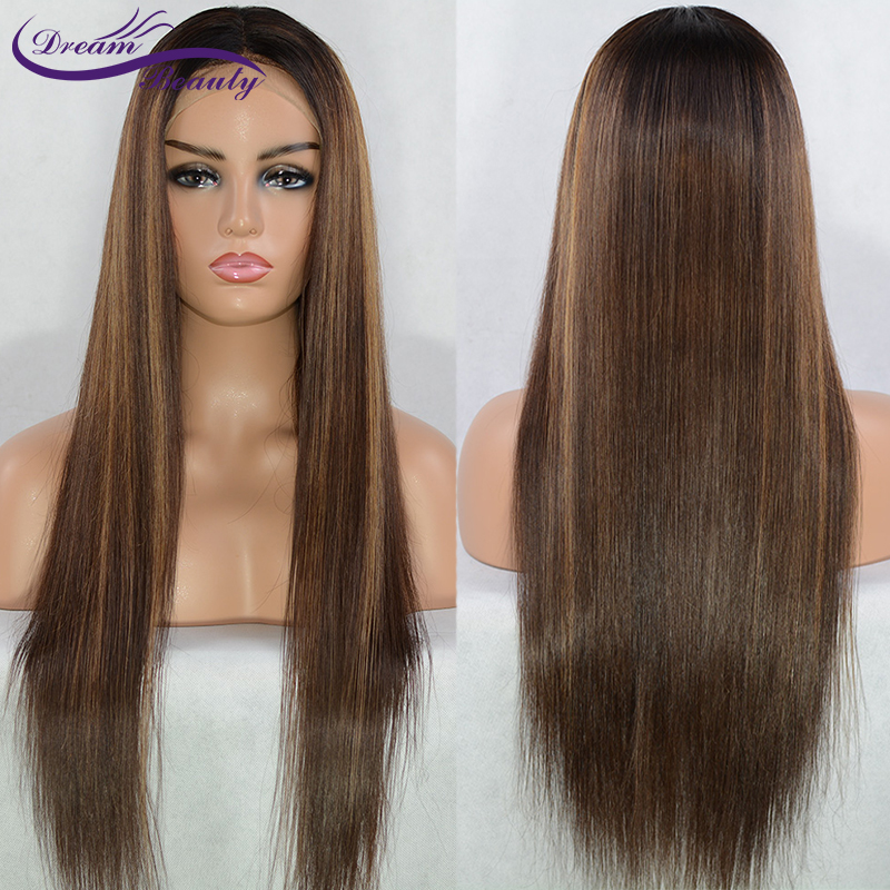 13x6 Deep part Lace front Wigs Glueless Lace Human Hair Wigs Highlight Ombre Color Wigs Brazilian