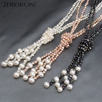 ZHBORUINI 2019 Fashion Long Multilayer Pearl Necklace Natural Freshwater Pearl Baroque Pearl Women Necklace Jewelry For Women