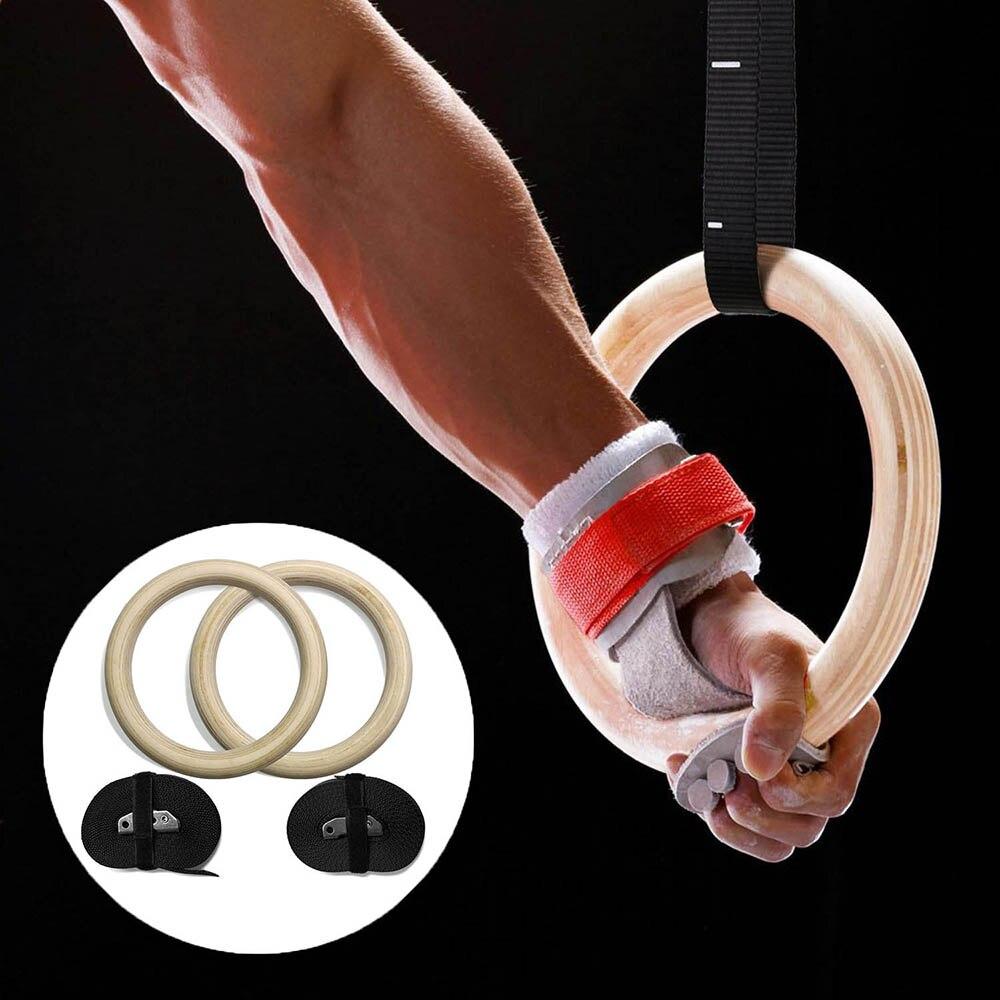 Anneaux de gymnastique en bois avec sangles 32 cm/28 cm entraînement exercice Gym maison Fitness anneau tirer vers le haut musculation musculation