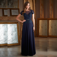 2016 Mother Of The Bride Dresses With Short Sleeve A Line Cap Sleeves Lace Chiffon Navy