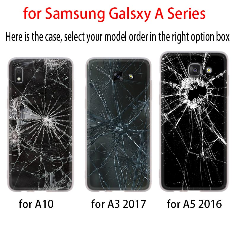 Broken Screen Phone Case For Samsung Galaxy A10 A20 A30 A40 A50 A60 A70 A6 A8 Plus A7 A9 2018 A3 A5 2017 Soft Cover Coque Buy At The Price Of