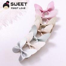 7pcs/lot Fashion Cute Leather Butterfly Hairpins Solid Kawaii PU Hair Bow Clips Princess Headwear Accessories