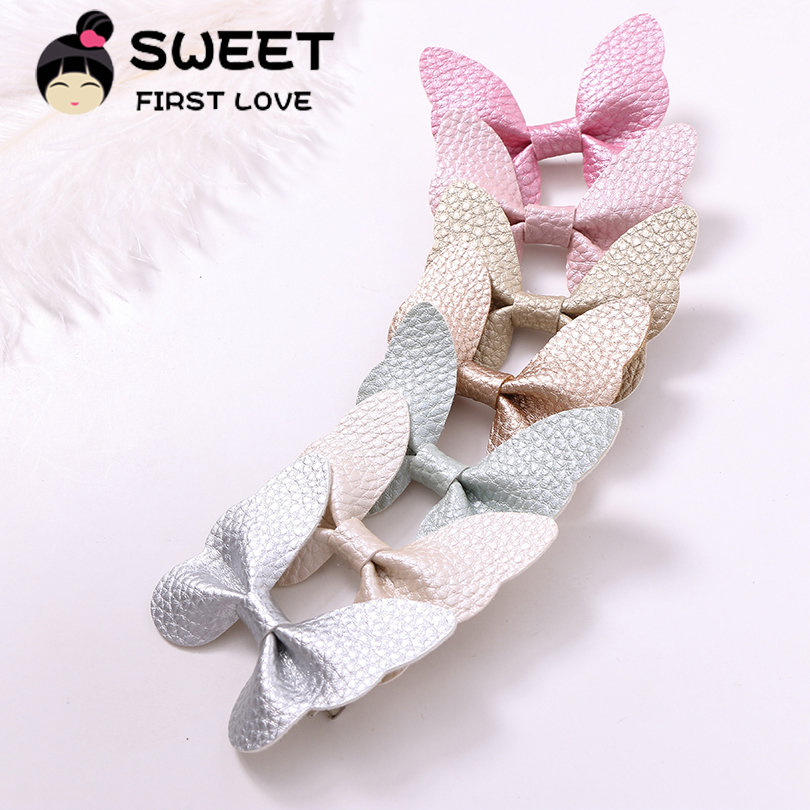 7pcs/lot Fashion Cute Leather Butterfly Hairpins Solid Kawaii PU Hair Bow Hair Clips Princess   Headwear   Hair Accessories