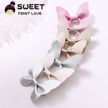 Cute Hair Accessories For Women Girls Baby Leather Butterfly Clips Hairpins Headband Solid Princess PU Hair Bow Nylon Hair Clips