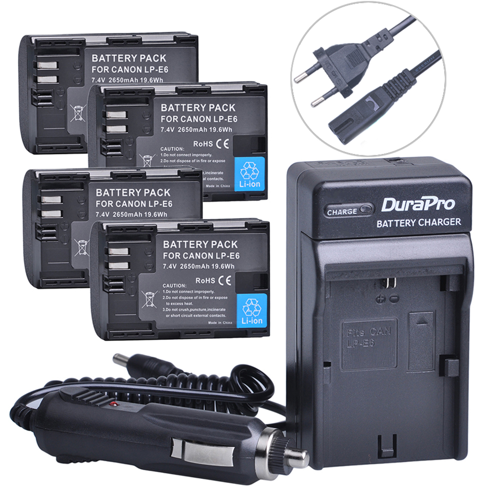 4pc LP-E6 LP E6 LPE6 LP-E6N Rechargeable Battery+Car Charger+AC Cable For Canon LP-E6 EOS 5DS R 5D Mark II 5D Mark III 6D 7D 80D dste lp e6 7 4v 2600mah decoded li ion battery for e0s 5d mark ii e0s 5d mark iii more black