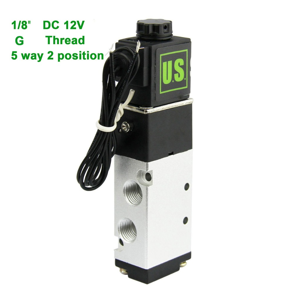 U.S.Solid 1/8 5 Way 2 Position Pneumatic Electric Solenoid Valve DC 12 V G Thread Aluminum Alloy ISO Certificated dc 24v 2 port 2 way 1 2pt female thread pneumatic electric solenoid valve