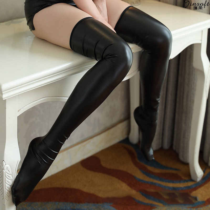 Sexy Women PU Shiny Wet Look High Stockings Faux Leather Black Long Knee Socks Women Sexy Lingerie Stockings DS Dance Wear F11