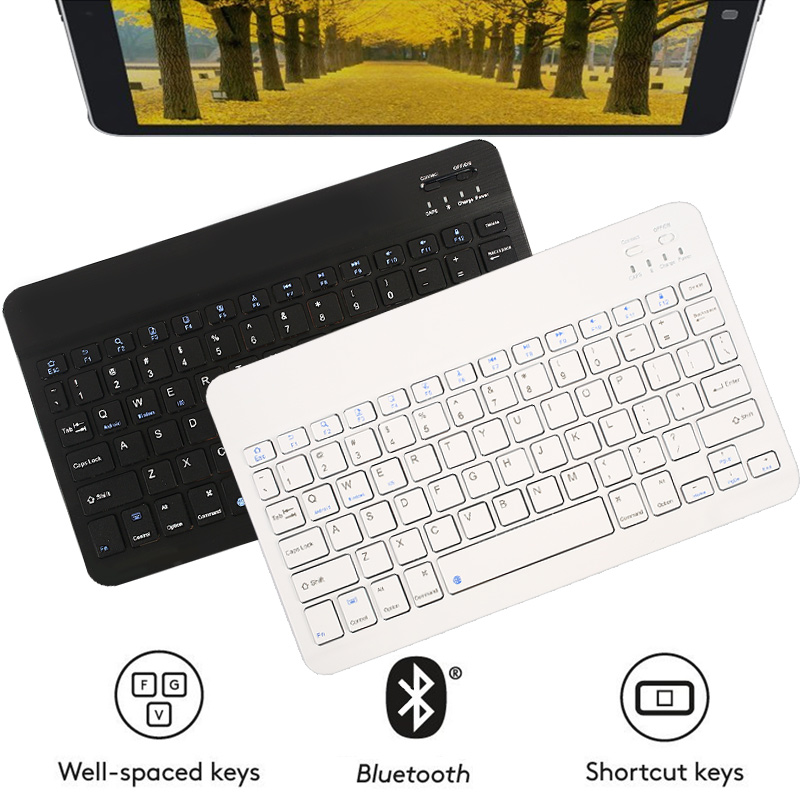 US $9 8 15% OFF|7/10 Inch Ultra thin Wireless Bluetooth Mini Keyboard Slim  Rechargeable Keyboard for iPad Galaxy IOS Android Windows Portable-in