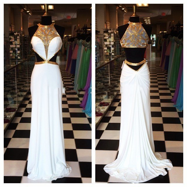 Sexy Gold Lange Witte Prom Dresses 2017 Hoge Hals Cut Out Taille Sheer Illusion Terug Formele Pageant Jurken Feestavond toga