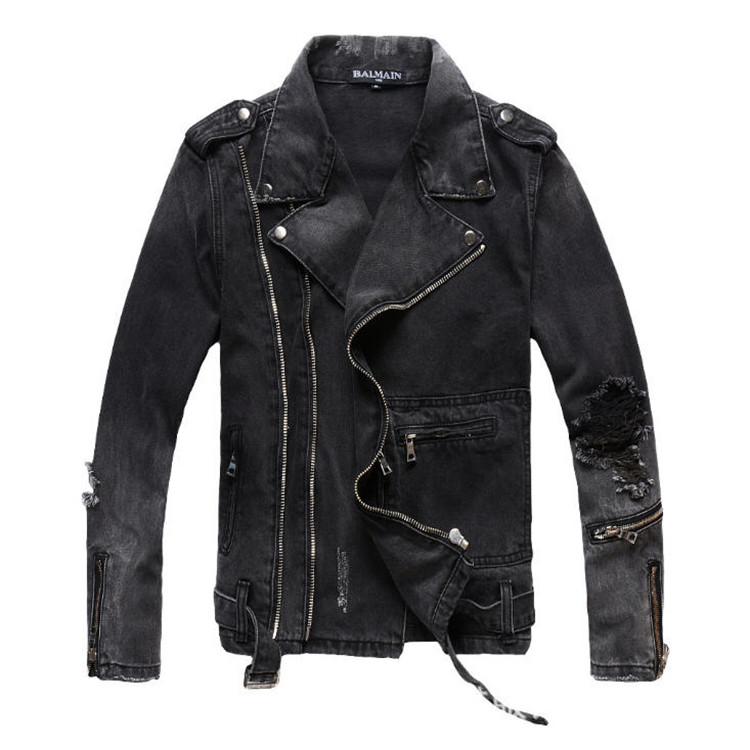 Для мужчин на молнии джинсовая куртка модные рваные мотоциклетные байкерские куртки Для мужчин s Plus Размеры 4XL Винтаж тонкий Проблемные Жан ...