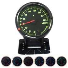 60MM 12V 8~18V 64 Backlights LED Electrical Car Volt Voltage Gauge Meter for Cars Auto Vehicles