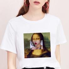 Mona Lisa T koszula kobiety parodia osobowość modna koszulka lato 2019 Harajuku estetyka z krótkim rękawem białe topy kobiet T-shirt tanie tanio HPYMRT COTTON Poliester Elastan REGULAR NONE Suknem O-neck Tees Print Indie Folk Women s t shirts tshirt women tee shirt femme