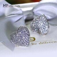 Romantische hart patroon oorbel wit goud kleur met w/zirconia mode kleine stud oorbel voor vrouwen boucle oreille