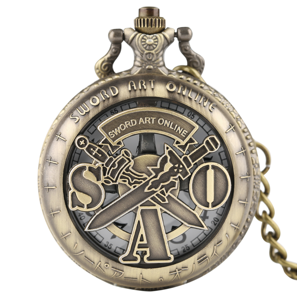 New Steampunk Japan ABEC Illustration Sword Art Online Hollow Quartz Pocket Watch With Chain Necklace Pendant Gifts