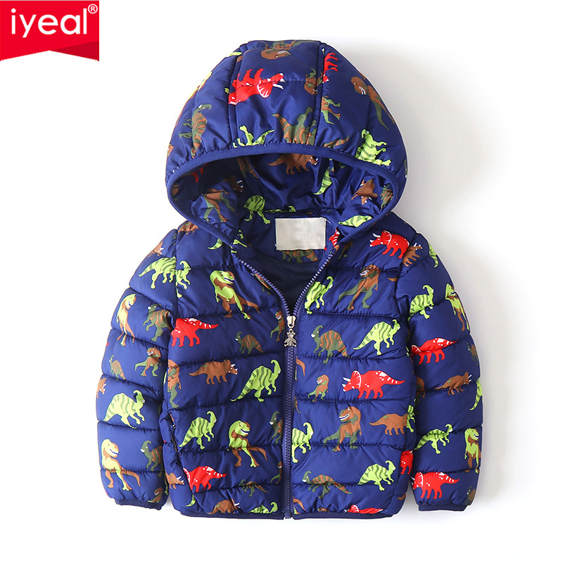 IYEAL Cute Dinosaur Pattern Winter Children Coat Kids Hooded Jacket Parkas Boys Outerwear Active Baby Clothes Toddler Clothing iyeal autumn winter baby coat boys girls cotton cute ladybug hooded outerwear casual kids jacket children clothing sports suit