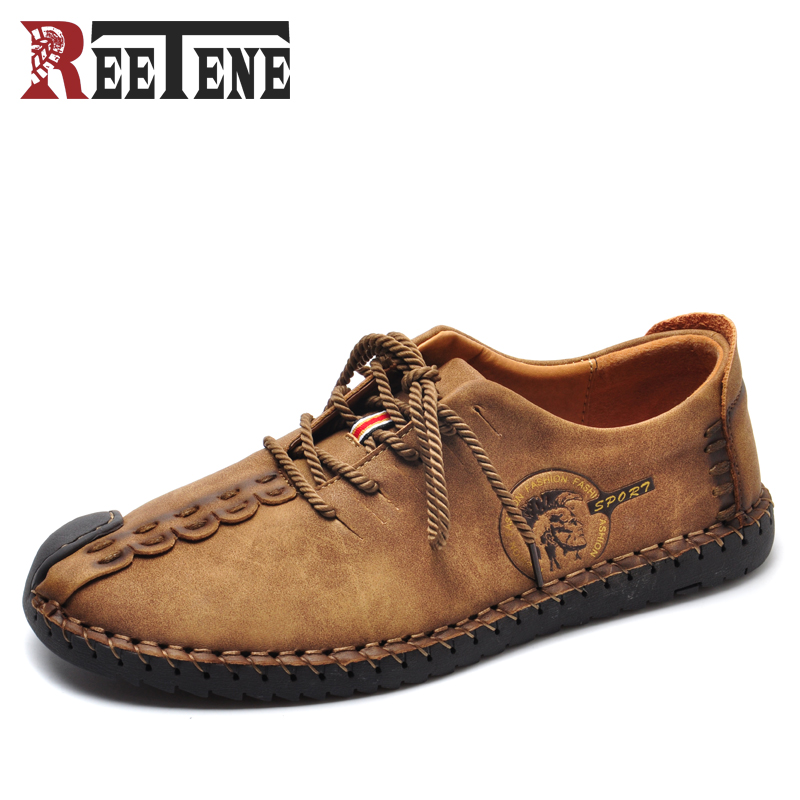 Spring Autumn New Genuine Leather Men's Casual Shoes British Style Soft Bottom Man Flats Breathable Lace-Up Handmade Sewing Shoe 2017 spring autumn new genuine leather lace up oxford shoes female thick bottom flats shoes europe style martin shoe obuv