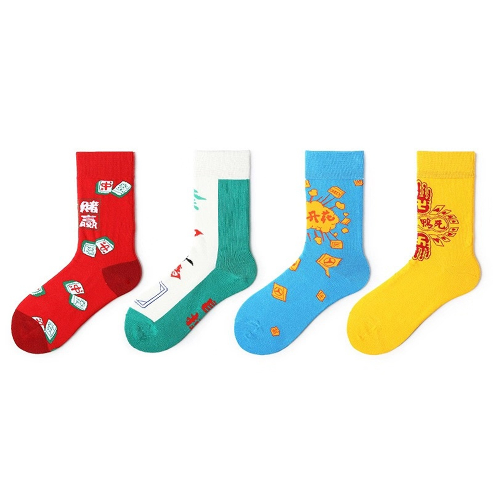 Men's cartoon cotton crew socks Chinese mahjong playing cards pattern personality socks ins wind funny trend funny happy socks