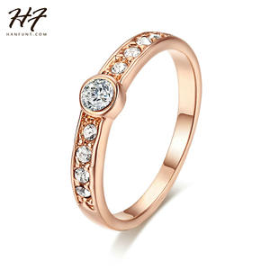 Finger-Rings Top-Class R172 Rose-Gold-Color Women Jewelry Rhinestones Wedding/engagement