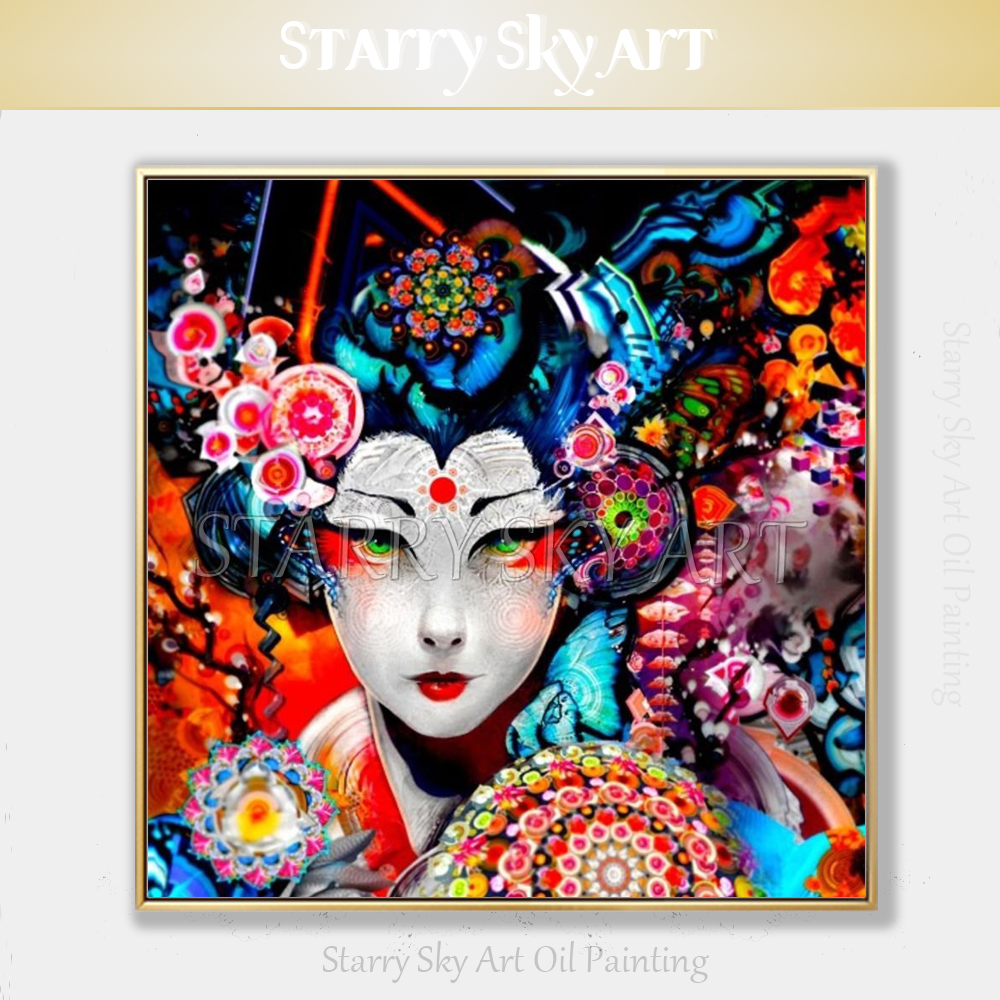 Artist Hand painted Fashion Wall Art Modern Abstract Japan Singer Oil Painting on Canvas Beautiful Japanese Woman Oil Painting