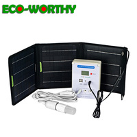 ECOworthy 20W Solar Lighting System with 3W LED bulb & 20W solar power panel & 7AH lithium battery Charger House solar Portable