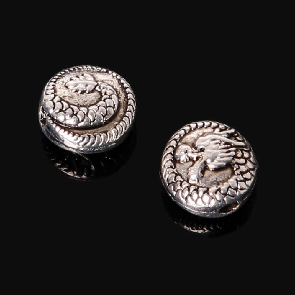 Акция 9 шт. 8x8 мм цинковый сплав антикварный серебряный дракон амулеты «сделай сам» ювелирные украшения для DIY модный браслет ожерелье