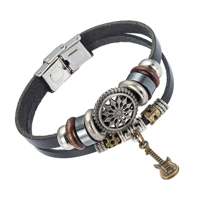 Leather Beaded Jewelry Handmade Metal Guitar Charm Bracelet Welcome Oem Order Mens