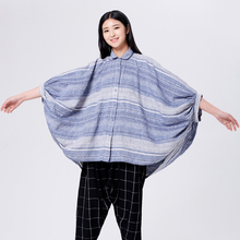 LYNETTE'S CHINOISERIE Spring Autumn Original Design Women Plus Size Loose Batwing Sleeve Cotton Linen Shirt