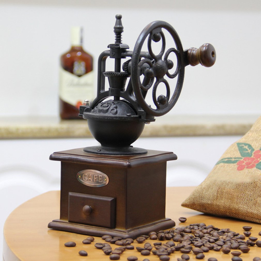 Wheel Design Vintage Manual Coffee Grinder With Ceramic Movement Retro Wooden Mill Hand Coffee Maker Machine Drop Shipping