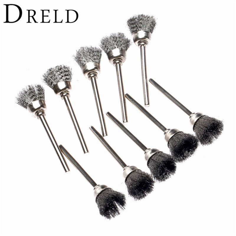 10pcs 15MM Steel Wire Cup Brush Rotary Brushes Rotary Tool For Mini Drill Burr Deburring Buffing Polishing Dremel Accessories