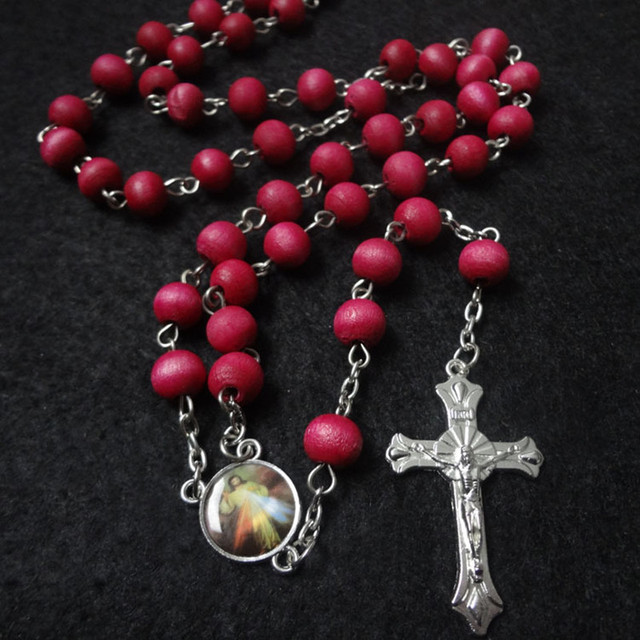 8mm red wooden beads religious catholic rosary necklace pendant holy 8mm red wooden beads religious catholic rosary necklace pendant holy father virgin mary centerpiece connectors crucifix aloadofball Image collections