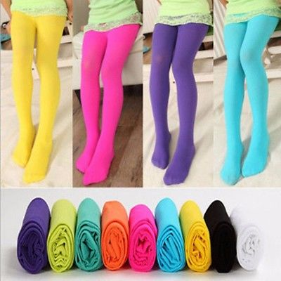 Girls Kids Tights Candy Color Pantyhose Stockings Soft Velvet Ballet Dance Stocking