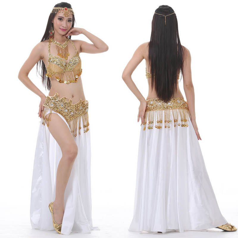 2019 New Performance Dancewear Bellydance Clothes Outfit C/D Cup Split Skirt Professional Women Egyptian Belly Dance Costume Set