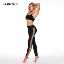 AMOMA Women Fitness Leggings Pattern Print High Waist Elastic Slim Legging Pants Rainbow