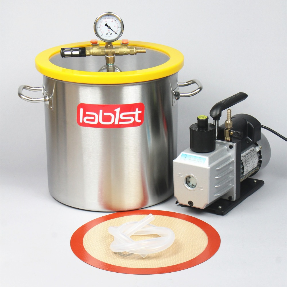 5.5 Gal (21 Liter) Vacuum Chamber  Kit With 2 Stage 6CFM  220V Vacuum Pump,30cm*30cm Stainless Steel Vacuum Degassing Chamber