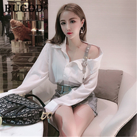 RUGOD Korean sexy one shoulder white women shirts Fashion loose slime office ladies blouse and tops 2019 Summer roupa feminina