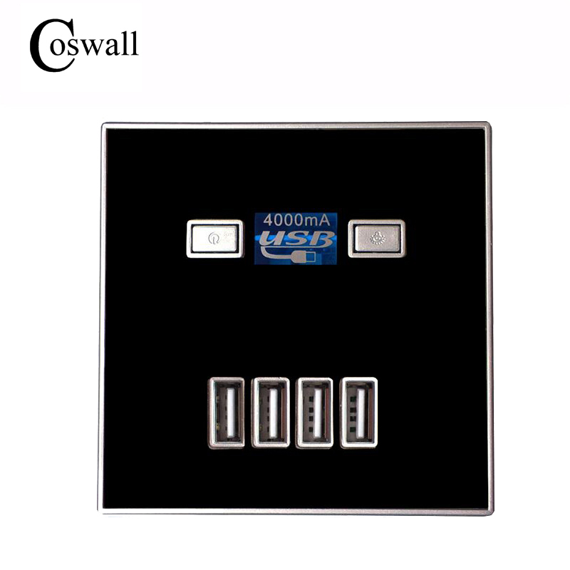 2017 New Arrival 4-PORT quick charger home use wall socket Power Usb Electrical Outlet 86mm * 86mm 4A