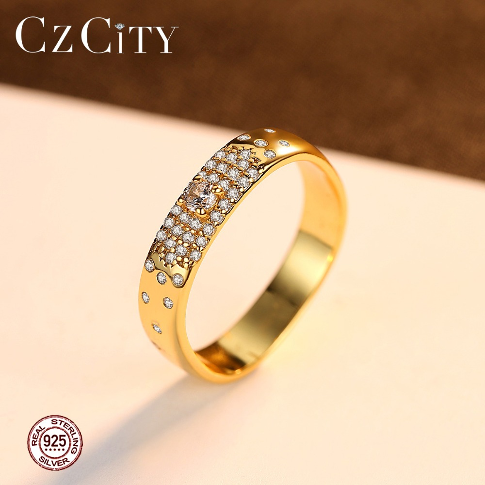 CZCITY 925 Silver Sterling Exquisite Ring For Women Wedding Party Luxury Shiny CZ Genuine 18k Female Fine Jewelry Christmas Gift